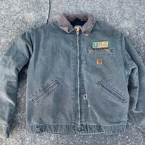 Vintage carhartt distressed work jacket duck heavy